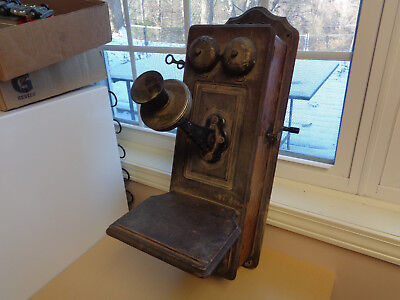 Antique Kellogg Wall Telephone for Restoration-Unusual Cast Iron Brackets