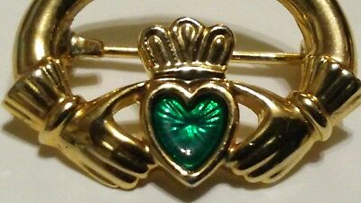 CLADDAGH 18ct Gold Plated symbol of Love, Loyalty & Friendship Brooch/Pin in Box