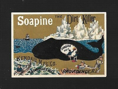 Soapine Whale Gets a Scrubbing-1880s Victorian Trade Card