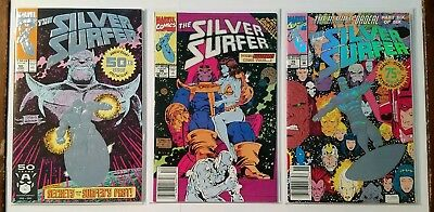 Silver Surfer Lot #50 56 75 Thanos Infinity Gauntlet Comic Book Marvel 1991