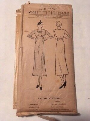 Vintage 1930 NEW YORK PATTERN WOMEN'S AND MISSES' FROCK #6168
