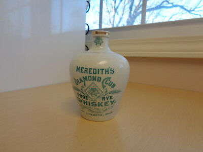 """Antique K.T.&K. Meredith's Pure Rye Whiskey Jug Liverpool Ohio Medicinal Use 5"""""""
