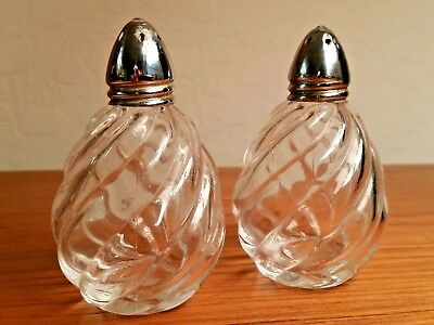Vintage Irice Salt & Pepper Shakers Clear Swirled Glass, Stainless Steel Tops