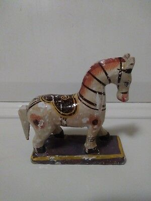 Old Vintage Hand Carved Painted Wood Wooden Horse Statue. Made In India