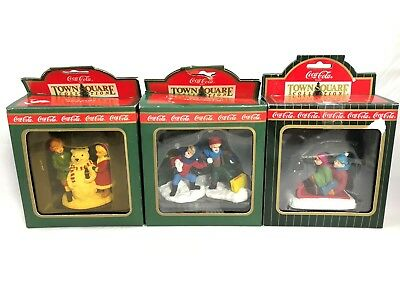 Coca-Cola Town Square Collection Snowbear Tobogan Sledders Boys Are Boys 3 Lot