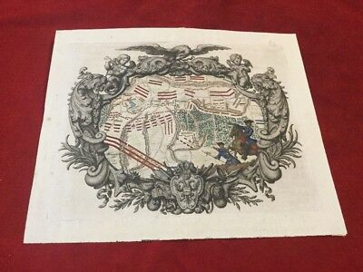 Antique hand colored map engraving of The Battle Of Malplaquet In 1709 Spanish
