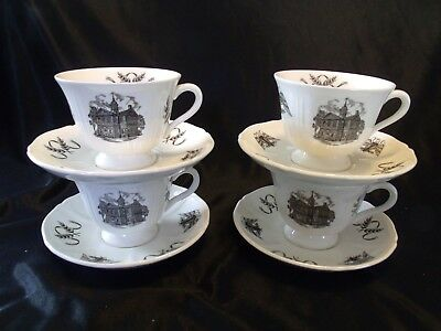 SET of 4 - Wedgwood PHILADELPHIA CUPS & SAUCERS - John Wanamaker