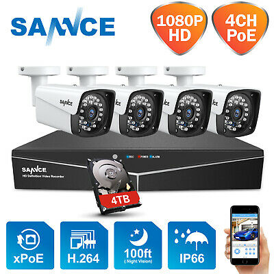 SANNCE Full HD 1080P POE IR Security Camera System 2MP 4CH NVR IP Network Metal