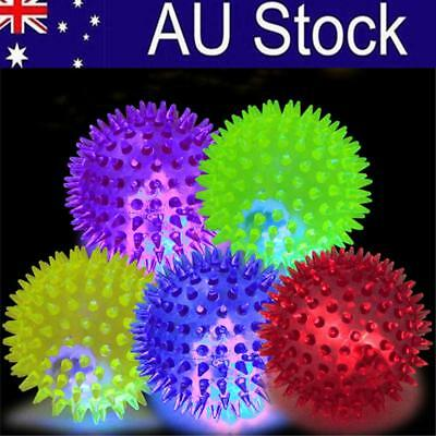 Pet Dog Cat Play Training Fun Toy LED Flash Chew Squeaky Spiky Ball Toys AU!