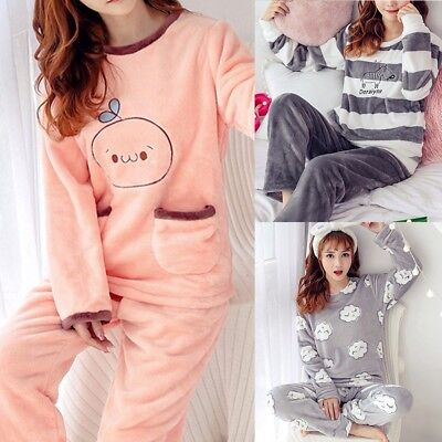 Women Lady Homewear Pajamas Set Winter Soft Cozy Thicken Warm Sleepwear Top Pant