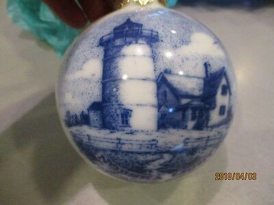 Nobska  lighthouse of Cape Cod glass Christmas ornament            bin 4