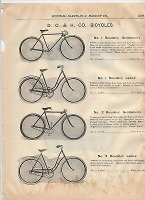 1903 catalog pages vintage D.C. & H, company antique bicycles Roadster Bicycle