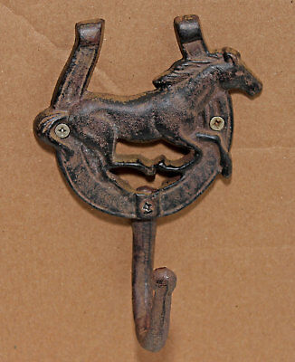 Rustic Cast Iron Horseshoe w/ Galloping Horse and Hook Coat Hook Hat Towel Ranch