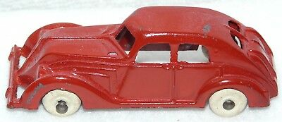 """Nice Looking Restored Red Hubley Car With White Tires 3 1/2"""" Long"""
