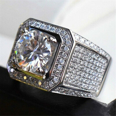 Gold Iced Out Hip Hop Wedding Engagement Bling MICROPAVE CZ Pinky Mens Ring