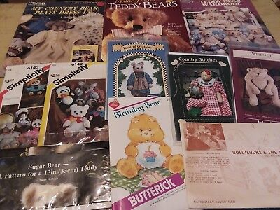 Teddy Bear Patterns Booklets and Book Lot