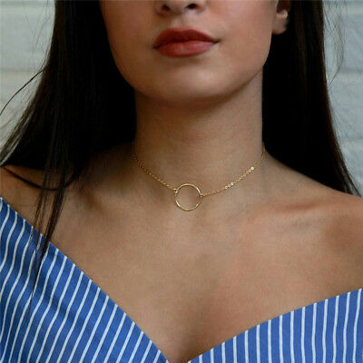 Simple Necklace Silver Gold Chain Circle Pendant Tiny Charm Women's Special Gift