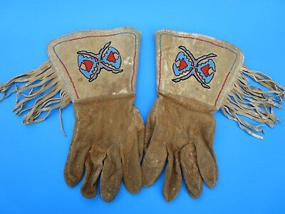 Orig Antique Native American Indian Leather Glass Beaded Gauntlet Leather Gloves