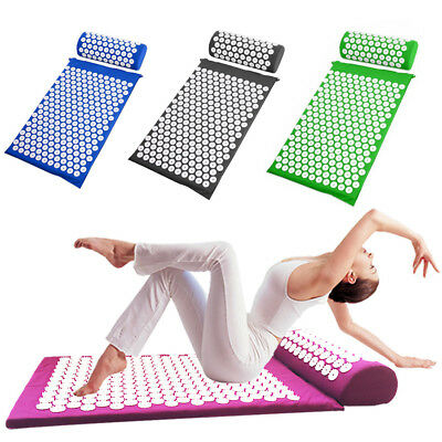 Acupressure Massage Mat and Pillow Set Back Neck Pain Relief Acupuncture Therapy