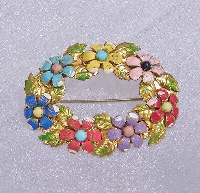 Antique Edwardian Hand Painted Oval Wreath Flower Brooch C-Clasp CLEARANCE SALE