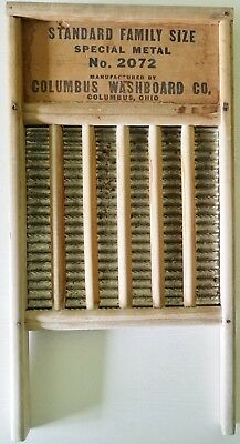 Vintage Maid Rite Washboard No 2072 Metal and Wood Columbus Washboard Co