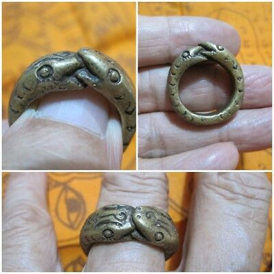 Size 9 Brass Ring  1999 LP Oim & 2 Snakes Thai Rare Amulet A21-O3