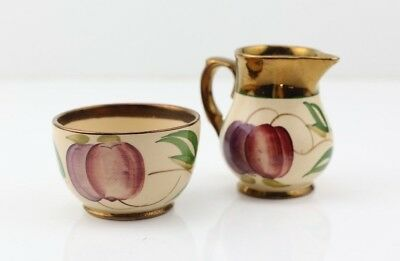 """WADE Pitcher and Bowl COPPER LUSTER PLUMS MADE IN ENGLAND """"HARVEST WARE""""?"""