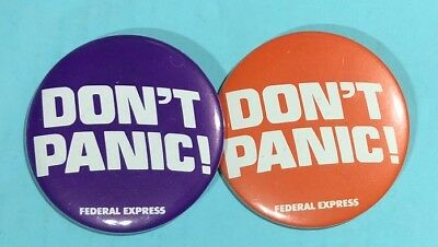 DON'T PANIC -Fed Ex ,Federal Express Orange & Purple 2 Logo  Pin back Buttons