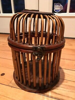 Vintage Decorative Wood Bird Cage with hinged lid, brown, FREE SHIPPING