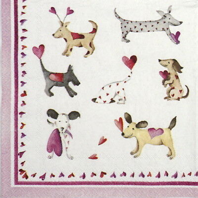 6x Cocktail 25x25cm Paper Napkins for Decoupage Party Love heart  dogs