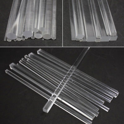 Clear Acrylic Perspex Round Rod Circular Bar Square Rod Bar 100/200/300mm Length
