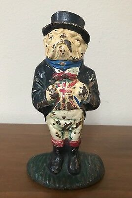 Antique Original Cast Iron United Kingdom Flag English Bulldog Doorstop RARE 10""