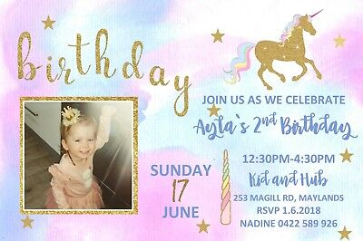 Personalised Unicorn and Rainbow Photo Birthday Invitation inc Envelopes U07