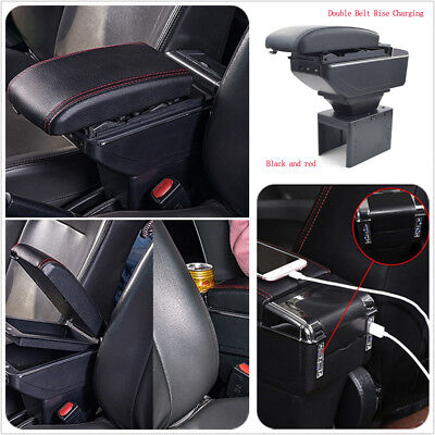 Car Central Container Armrest Box Storage +Cup Holder Double Belt Style Rise