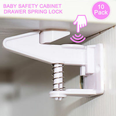 10pcs Utility Cabinet Safety High Security Latch Baby Spring No Magnetic Lock AU