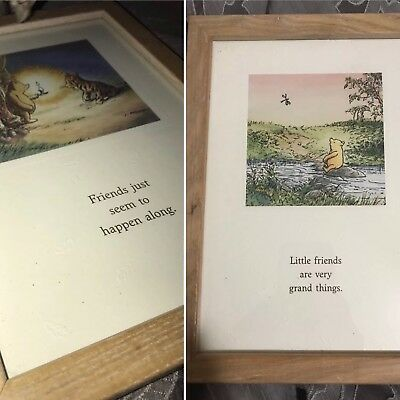 2 Winnie the Pooh Framed Prints of Classic Pooh Sayings, For Friends, Disney