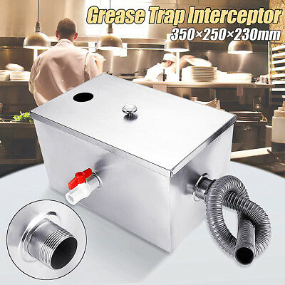Large Stainless Steel Grease Trap Interceptor 8LB 5GPM For Kitchen Wastewater