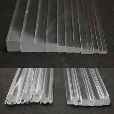 Plastic Acrylic Solid Rod & Tube Clear Round Square Bar 100/200/300mm Length