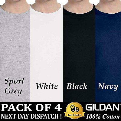 PACK OF 4 Gildan Mens T-Shirt Ultra Cotton Blank Solid Long Sleeve Plain T Shirt