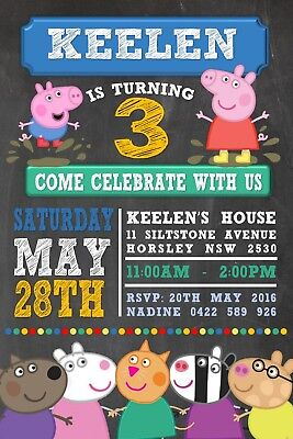 Peppa Pig George Girl Boy Birthday Invite Invitation Personalised Free Magnet