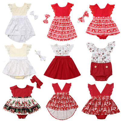 AU Newborn Toddler Baby Girls Christmas Lace Romper Dress Skirt Outfits Clothes