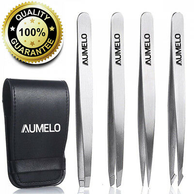 Tweezers Set 4-Piece Professional Stainless Steel with Travel Case by Aumelo...