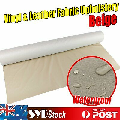 Upholstery Fabric Faux Synthetic Leather Vinyl DIY Craft Replace Patches Beige