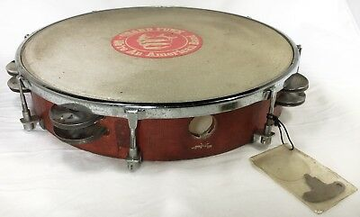 """1970s Vintage 10"""" RED Wooden Tunable TAMBOURINE w/ Key Double Row Jingles Taiwan"""