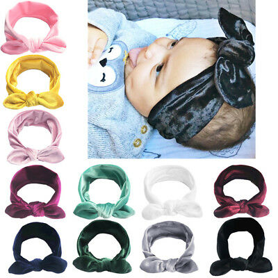 11Pcs Cute Kids Girl Baby Velvet Toddler Ribbon Bow Headband Hair Band Headwear