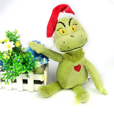 """15""""/39cm Dr. Seuss The Grinch  Christmas With Santa Hat Plush Toys Xmas Gifts UK"""