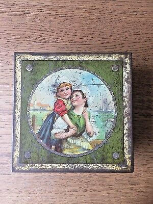 Antique Collectable Lidded Tin Box Square Shaped Pictorial Lid