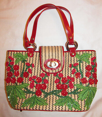 ISABELLA FIORE woven straw raffia red rowan floral applique beaded satchel bag