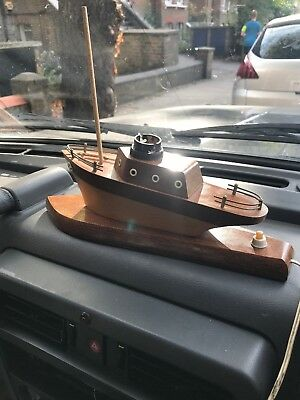 Vintage  Art Deco  1950s Wooden Yacht Ship Boat Lamp Base Tested