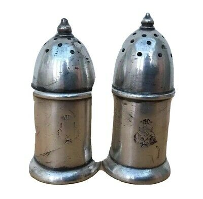 2 x Antique Art Deco Mappin & Webb Silver Plated Pepper Pots Pepperettes